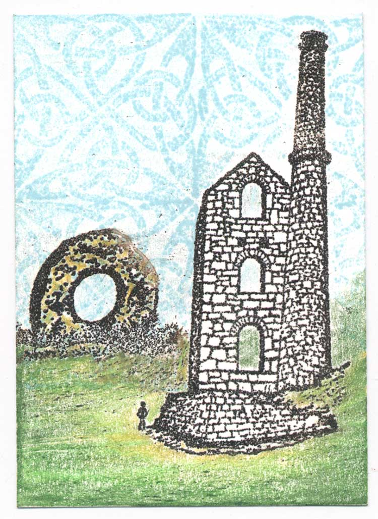 Cornwall stone and mine ruin rubber stamp art by Kim Victoria for Highlander Celtic Stamps