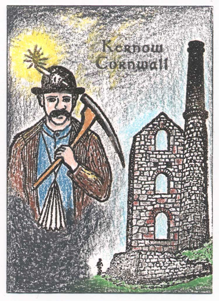 Light of the Past, Cornish miner and mine ruin rubber stamp art by Kim Victoria for Highlander Celtic Stamps