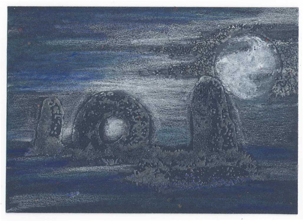 Mystic Moon, Cornwall Mên-an-Tol stones rubber stamp art by Kim Victoria for Highlander Celtic Stamps