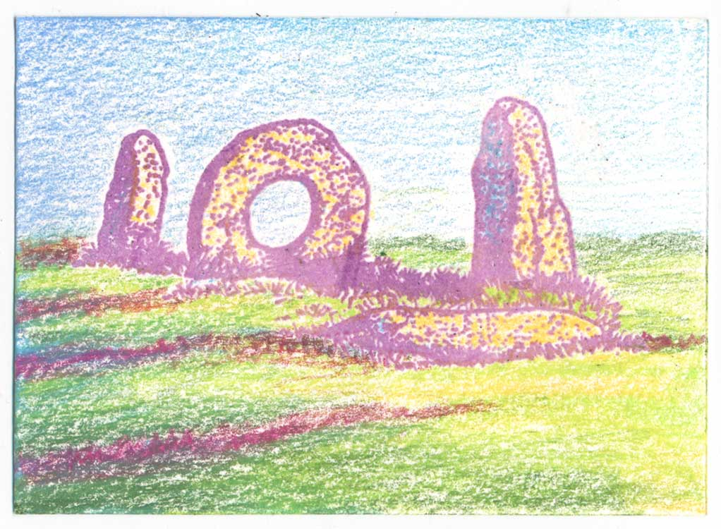 Solstice Shadows, Cornwall Mên-an-Tol stones rubber stamp art by Kim Victoria for Highlander Celtic Stamps