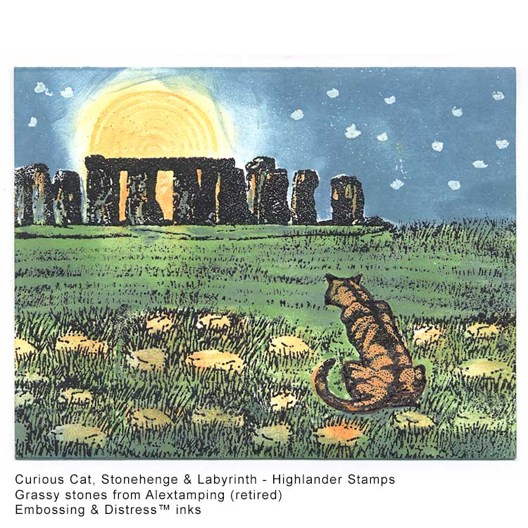 Cat contemplating the full moon behind Stonehenge card idea by Kim victoria for HighlanderCelticStamps