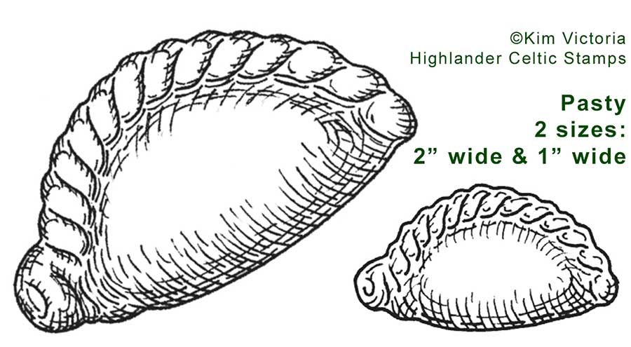 Cornish Pasty rubber stamp image by Kim Victoria for Highlander Celtic Stamps